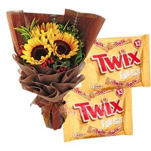 3 pcs Sunflower Bouquet, TWIX Caramel Chocolate (2 x 275g)