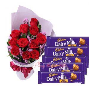1 Dozen Red Roses Bouquet, Cadbury Milk Chocolate (10x30g each)