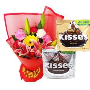 Mixed Flower Bouquet, Kisses Almonds Share Pack 283g Kisses Milk Chocolate Share Pack 283g