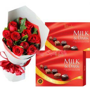 1 Dozen Red Roses Bouquet, Alfredo Milk & Dark Finest Chocolate 110g x2
