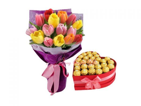 20 Assorted Tulips, 30pcs Ferrero Chocolates in Heart