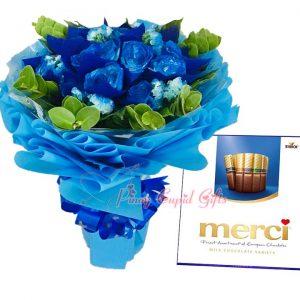 1 Dozen Blue Roses Bouquet, Merci European Chocolates-Blue