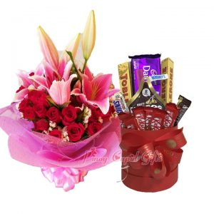 1 Dozen Red Roses with Pink Stargazers & Assorted Chocolates Bucket