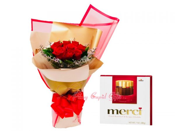 1 Dozen Red Roses Bouquet, Merci European Chocolates-Red