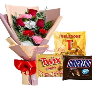 Mixed Roses/Carnations Bouquet, 3 Mini Packs (Toblerone, Twix, Sneakers)