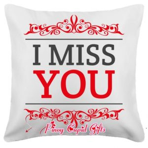 White I Miss You Message Pillow