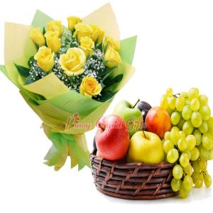 10 Yellow Imported Roses & Fruit Basket: 2 Red Apples, 2 Green Apples, 2 Pears, 1/2 kilo Green grapes, 1/2 kilo Red Grapes.