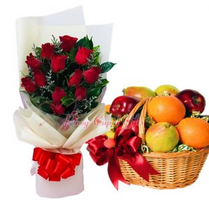 1 Dozen Red Roses Bouquet & Fruit Basket: 5 Red Apples, 5 Pears, 5 Oranges