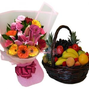 Mixed Flower Bouquet & Fruit Basket: 2 Pineapples, 4 Oranges, 4 Red Apples, 4 Green Apples, 4 Pears, 5 Bananas, 1/2 Kilo Grapes