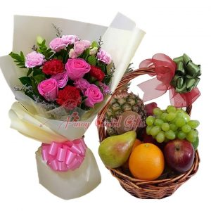 Mixed Flower Bouquet & Fruit Basket: 1 Pineapple, 2 Pears, 2 Oranges, 2 Red Apples, 2 Green Apples, 2 Kiwis, 1/2 Kilo Green Grapes