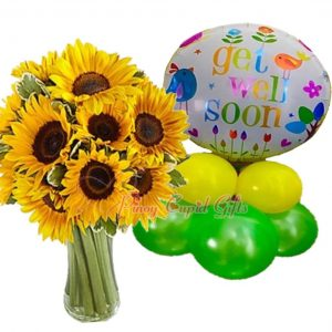 """15 Sunflower in a Vase """"Get Well Soon"""" Mylar Balloons"""