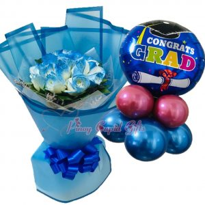 "1 Dozen Blue Roses Bouquet, ""Congrats GRAD"" Mylar Balloons"
