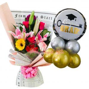 """Mixed Flower Bouquet, """"Congrats GRAD"""" Mylar Balloons"""