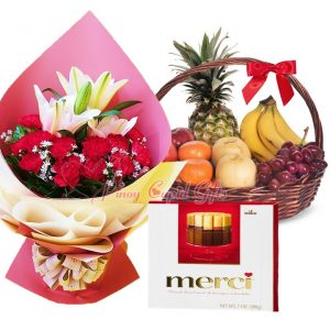 Carnation/Lillies Bouquet, Merci European Chocolate, Fruit Basket: 1 Pineapple, 4 Bananas, 2 Pears, 2 Oranges, 2 Red Apples, 1/2 Kilo Red Grapes