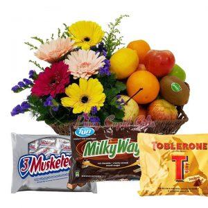 Gerberas Flowers in Basket, Musketeers/Milky Way (Fun Size), Toblerone Pack (200g), Fruit Basket: 2 Oranges, 2 Red Apples, 2 Green Apples, 2 Pears, 2 Lemons, 2 Kiwis
