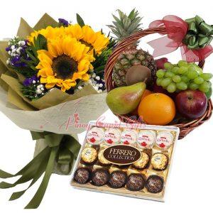 3 Sunflower Bouquet, 15 pcs Ferrero Collection, Fruit Basket: 1 Pineapple, 2 Pears, 2 Oranges, 2 Red Apples, 2 Kiwis, 1/2 kilo Green Grapes