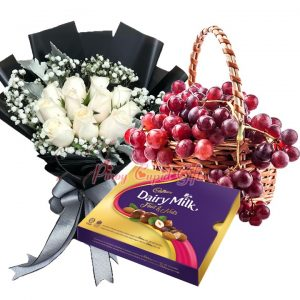 1 Dozen White Roses Bouquet, Cadbury Chocolate-300g, Fruit Basket: 2 Kgs Red Grapes