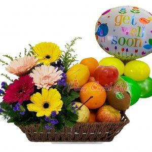 Gerberas Flowers in Basket, Fruit Basket: 2 Oranges, 2 Red Apples, 2 Green Apples, 2 Pears, 2 Lemons, 2 Kiwis Mylar Balloons