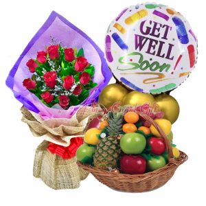 1 Dozen Red Roses Bouquet, Fruit Basket: 1 Pineapple, 2 Red Apples, 2 Green apples, 2 Pears, 2 Oranges, Kiat Kiat & Mylar Balloons
