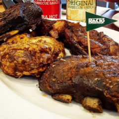 RACKS smoked specialties: Classic pork ribs, Baby ribs, Beef ribs, and Smoked spring chicken