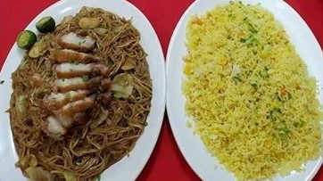 Pancit w/lechon macau+ Yangchow rice (good for 3-4)