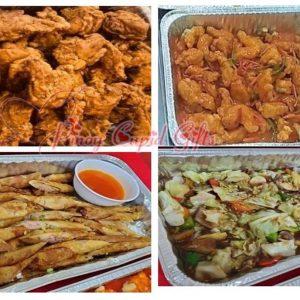 Chinatown Fried Chicken, Sweet & Sour Pork, Shanghai Rolls, Rice Wine Chop Suey