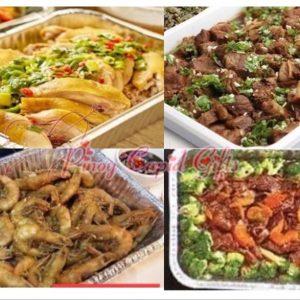 Hainanese White Chicken, Binondo Braised Beef, Salt & Pepper Shrimp, Braised Beef Broccoli