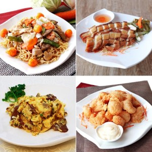 Birthday Noodles, Lechon Macau, Beef with Scrambled Eggs, Fried Shrimp (Camaron Rebusado)