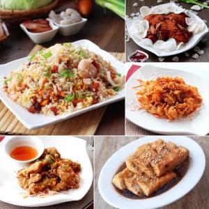 Yang Chow Fried Rice, Crispy Fried Chicken, Salt & Pepper Fried Squid, Salt & Pepper Fried Spareribs, Soyed Taufu