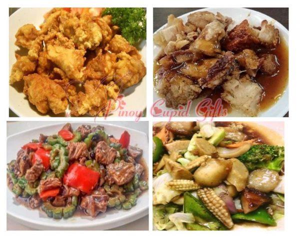 Chinatown Fried Chicken, Lechon Kawali, Braised Beef Ampalaya,Rice Wine Chopsuey