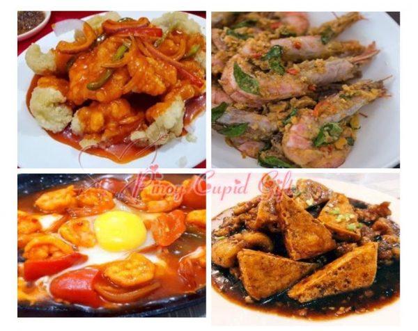 Sweet & Sour Fish Fillet, Golden Salted Egg Shrimp, Binondo Sizzling Gambas, Fish Tofu in Black Bean Sauce