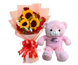 "3 Sunflower/1 dozen red roses bouquet and 22"" teddy bear"