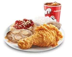 Chickenjoy with Burger Steak & Half Spaghetti
