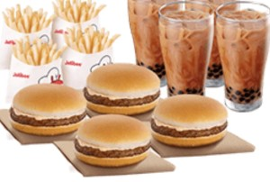 Snack Time Bundle 1: 4 Yamburgers, 4 Regular Fries, 4 Milk Tea w/Pearls