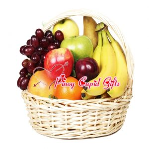 Fruit Basket 02 (4 bananas, 2 red apples, 2 green apples, 1/2 kilo red grapes, 3 oranges, 3 pears)