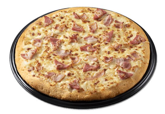 Cheesy Bacon & Ham: white cheese pizza with bacon and ham slices.