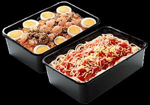 Jollibee Family Pans: Spaghetti and Palabok for sharing