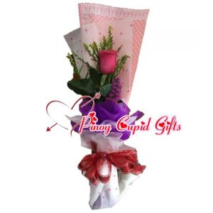 1 Imported Pink Ecuadorian Rose in a hand bouquet