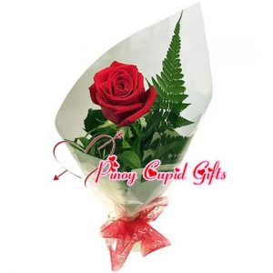 1 Imported Ecuadorian Red Rose in a hand bouquet