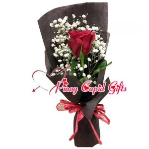 1 Red Ecuadorian Rose in a hand bouquet