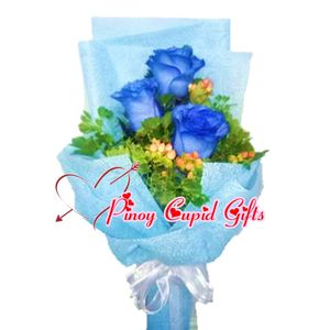 3 Blue Imported Holland Roses in a hand bouquet
