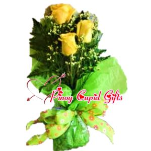 Three Imported Yellow Roses