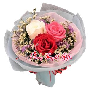 3 Imported Roses (Red, White, Pink)