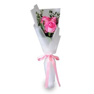 3 Imported Pink Roses in a hand bouquet