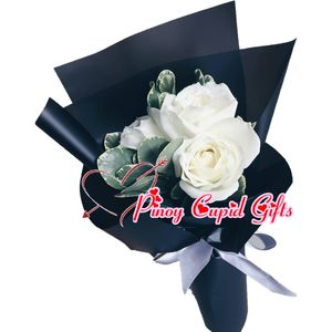 3 Imported White Roses in a hand bouquet
