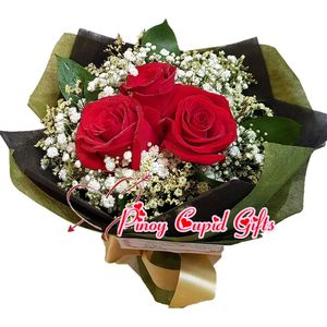 3 Imported Red Roses in a hand bouquet