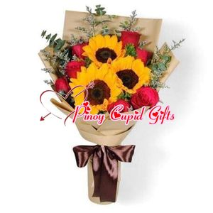 3 Sunflowers and 6 Ecuadorian Red Roses in a hand bouquet