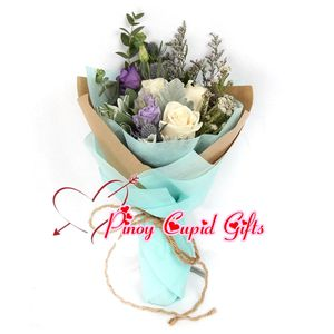3 Imported White Roses with Imported Fillers in a hand bouquet