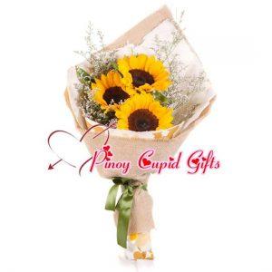 3 pcs Sunflower in a hand bouquet