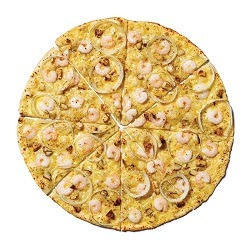 Yellow Cab Roasted Garlic and Shrimp Thin Crust Pizza